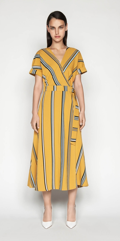 Dresses | Twill Stripe Wrap Dress