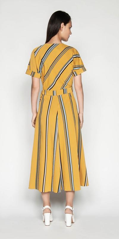 Dresses   Twill Stripe Wrap Dress