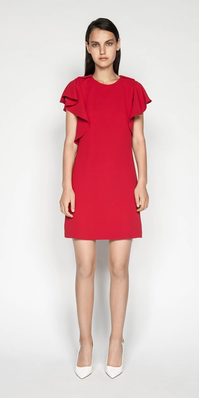 Sale | Waterfall Frill Sleeve Dress