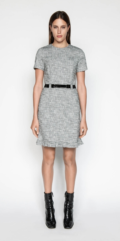 4ec0c085 CUE - Cotton Tweed Belted Dress