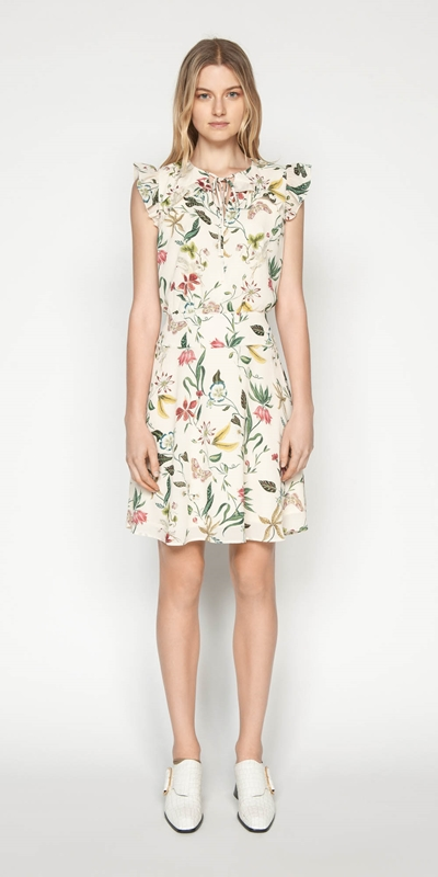 Dresses | Illustrated Botanic Frilled Dress