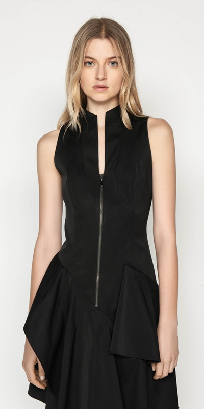 Dresses | Asymmetric Frill Zip Front Dress