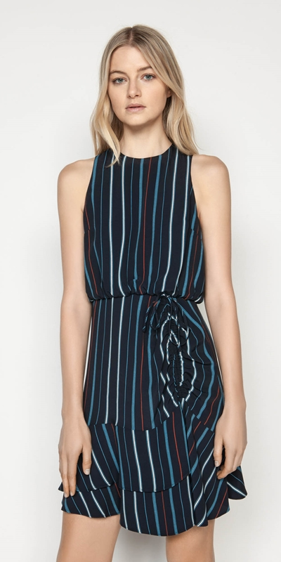 Made in Australia  | Striped Ruched Waist Dress