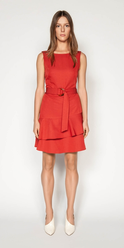 Dresses | Belted Boat Neck Dress
