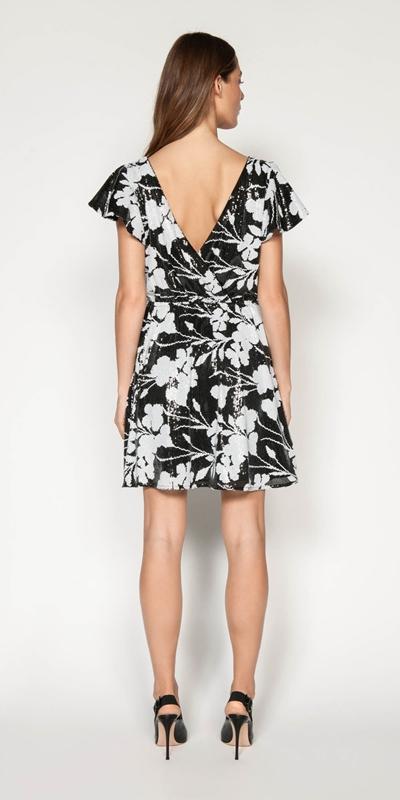 Dresses | Monochrome Floral Sequin Dress