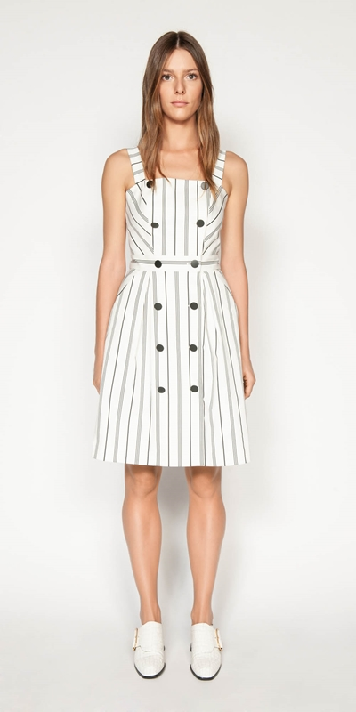 Dresses | Bold Stripe Button Front Dress