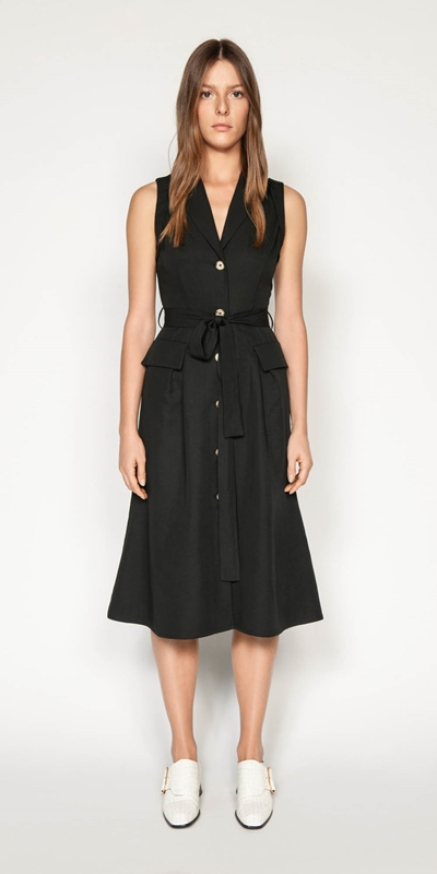Dresses | Belted Button Front Dress