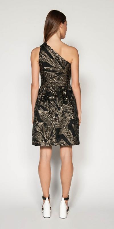 Dresses | Metallic Jacquard One Shoulder Dress
