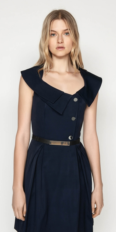 Dresses  | Faille Draped Collar Dress