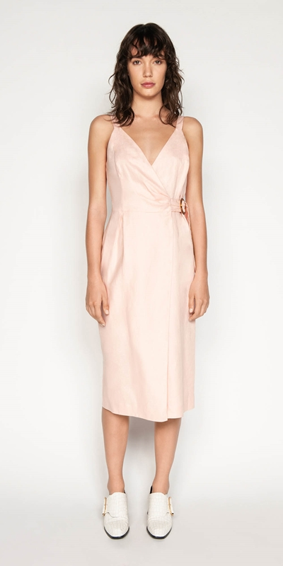 Outlet | Linen Wrap Front Dress