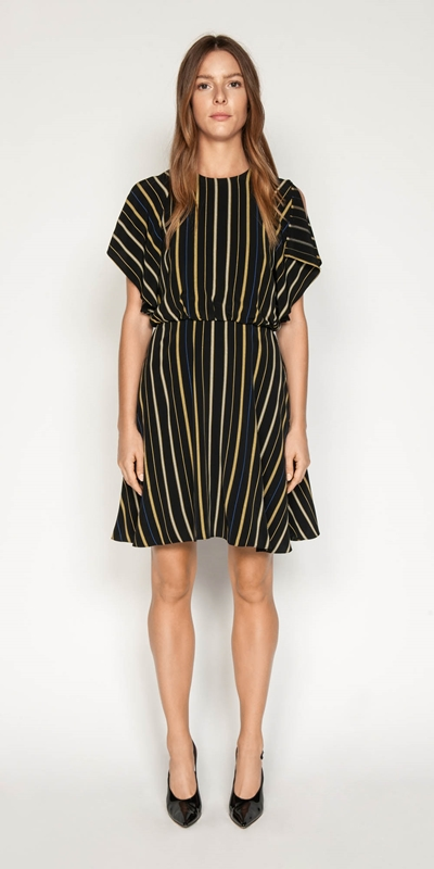Sale | Stripe Fluted Split Sleeve Dress