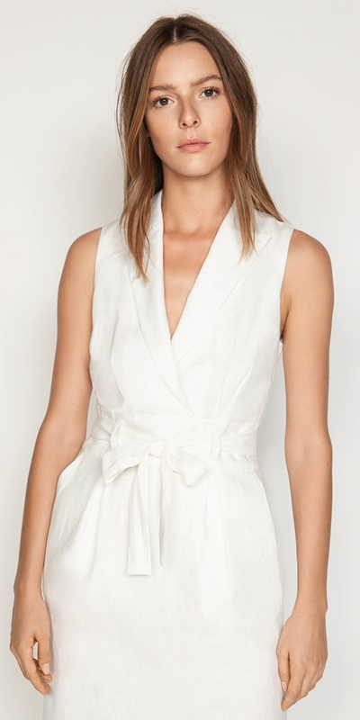 Dresses  | Linen Collared Wrap Front Dress