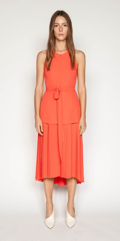 Dresses | Crepe Pleated Hem Dress