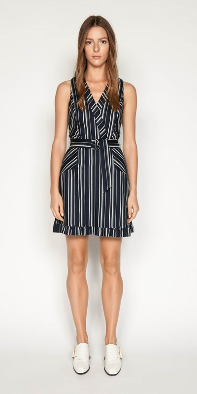 Dresses | Linen Stripe Belted Dress