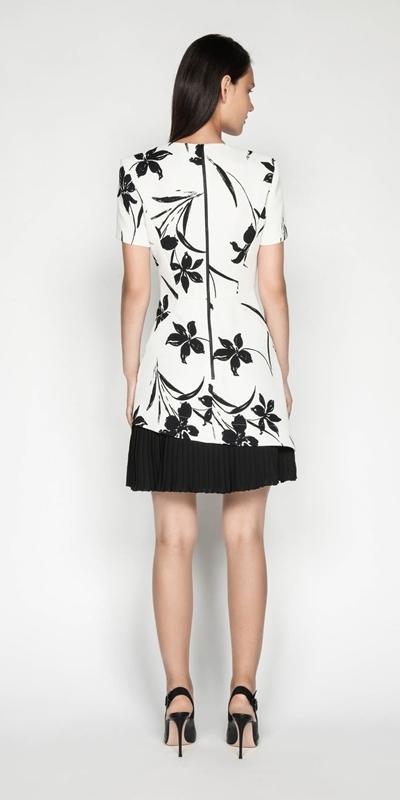 Dresses | Monochrome Floral Pleated Dress