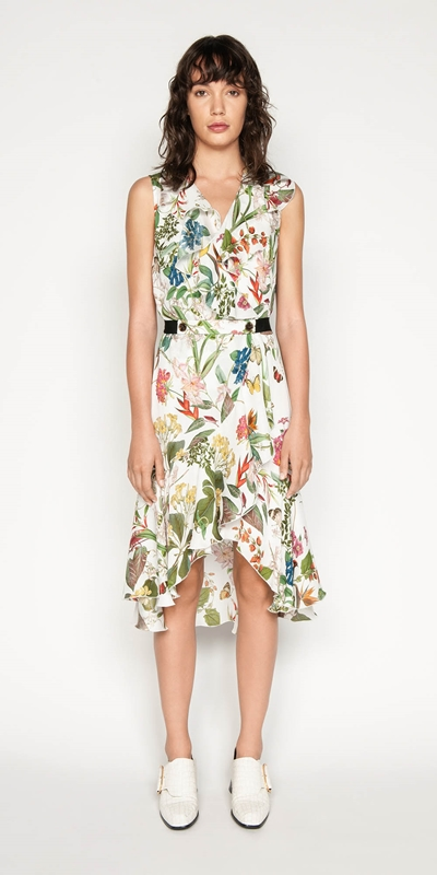 Dresses | Belted Botanical Wrap Dress