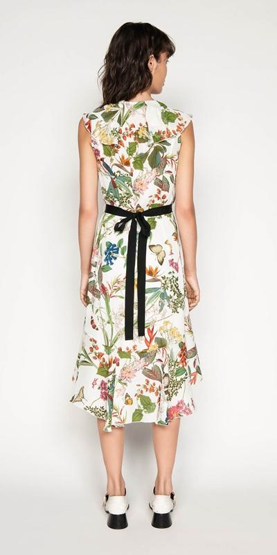 Dresses   Belted Botanical Wrap Dress