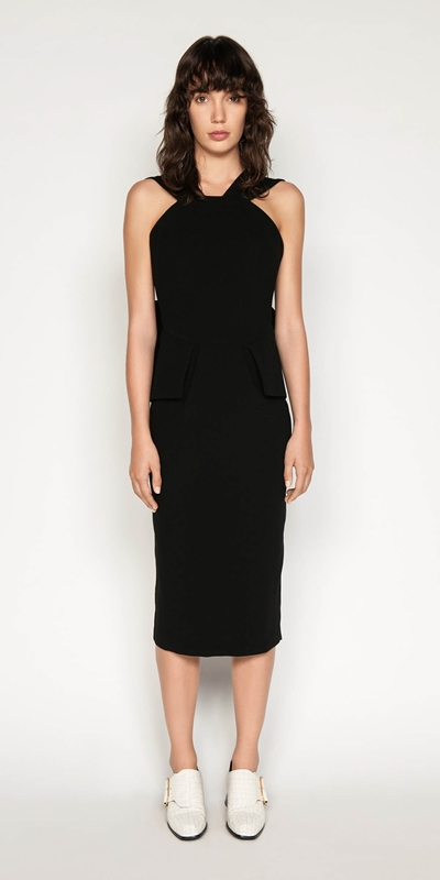 Dresses | Crepe Draped Back Pencil Dress