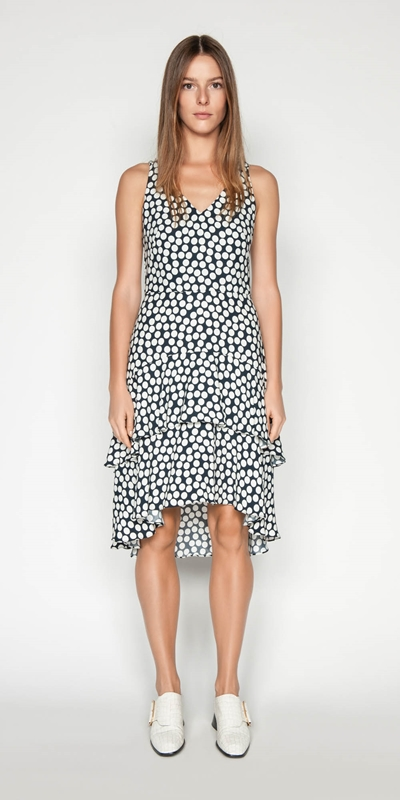 Outlet | Spotted Crepe Midi Dress