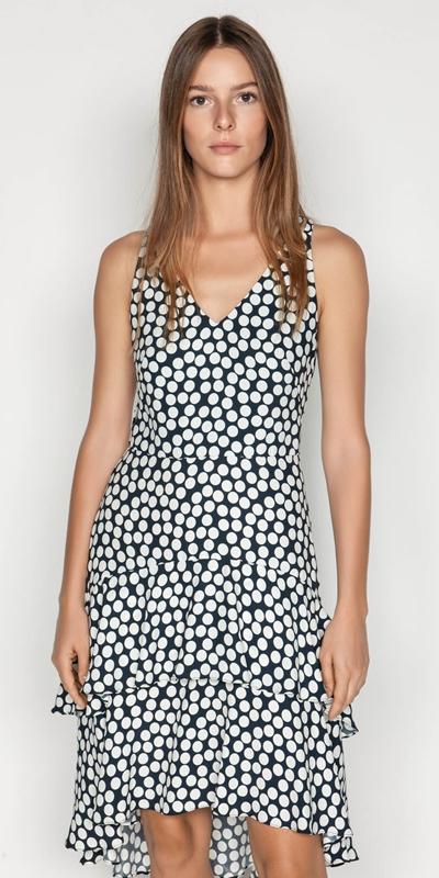 Dresses | Spotted Crepe Midi Dress