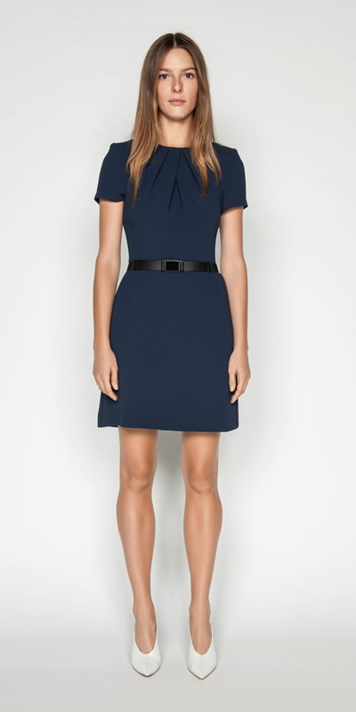 Dresses | Crepe Belted Shift Dress