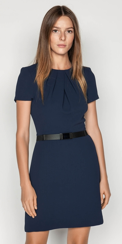 Wear to Work  | Crepe Belted Shift Dress
