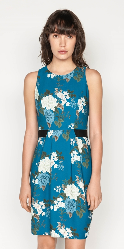 Wear to Work  | Floral Crepe Tucked Waist Dress