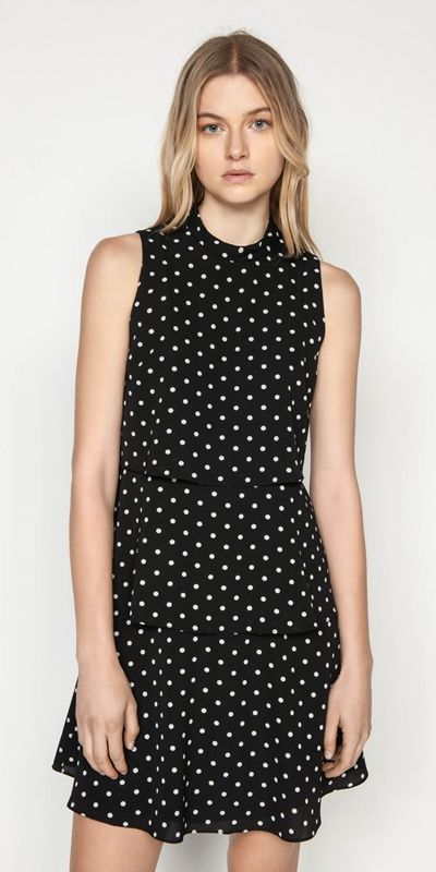 Dresses  | Spot Georgette Tiered Dress