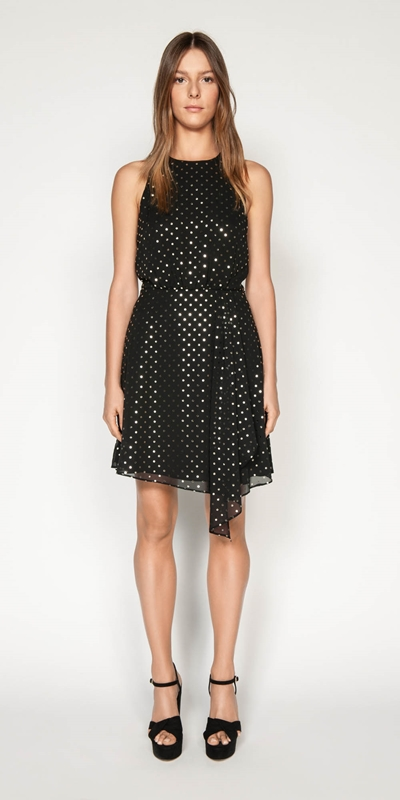 Made in Australia | Metallic Spot Asymmetric Drape Dress