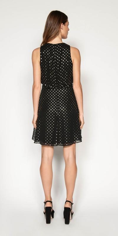 Dresses   Metallic Spot Asymmetric Drape Dress