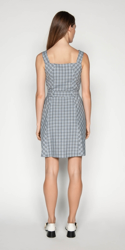 Dresses | Linen Check Button Front Dress