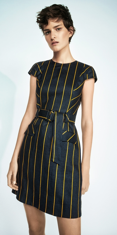 Dresses  | Belted Linen Stripe Dress