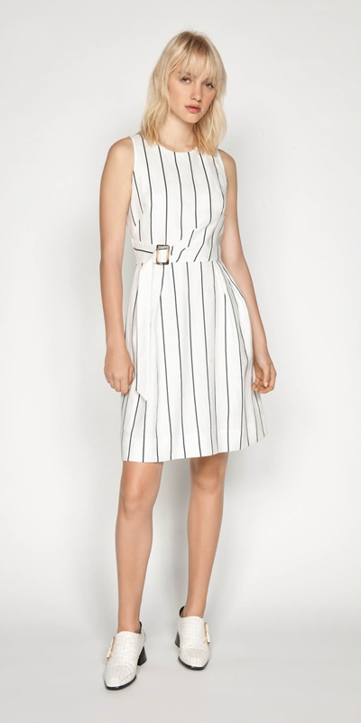 Dresses | Linen Stripe Twist Waist Dress