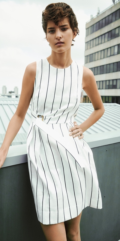Made in Australia  | Linen Stripe Twist Waist Dress