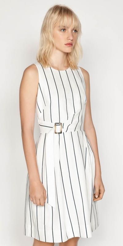 Dresses | Linen Stripe Twist Waist Dress