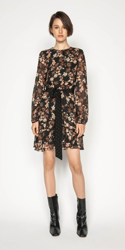 Work From Home | Mini Paisley Blouson Sleeve Dress