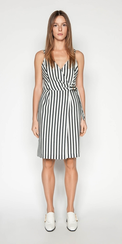 Outlet | Linen Stripe Wrap Dress