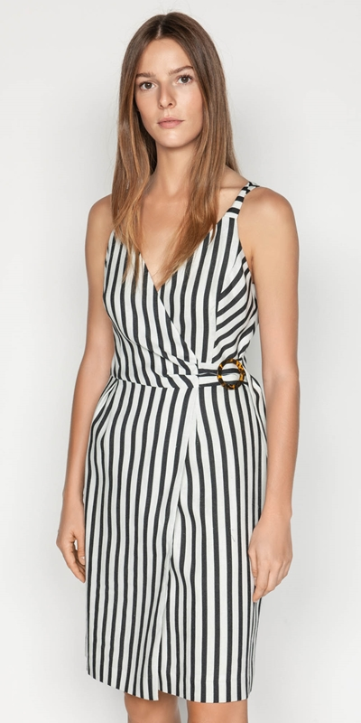 Dresses  | Linen Stripe Wrap Dress