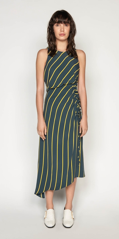 Dresses | Bold Stripe Asymmetric Dress