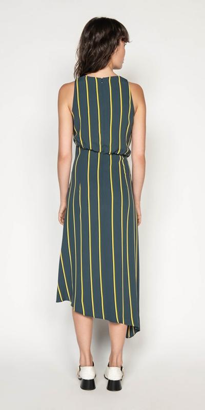 Dresses | Bold Stripe Asymmetric Dress