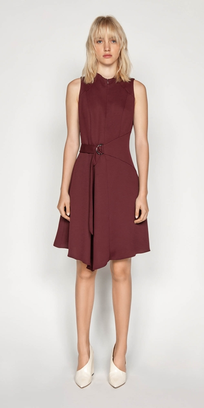 Sale | Belted Funnel Neck Dress