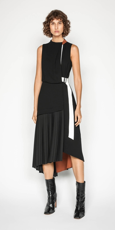 Dresses | Spliced Pleated Midi Dress