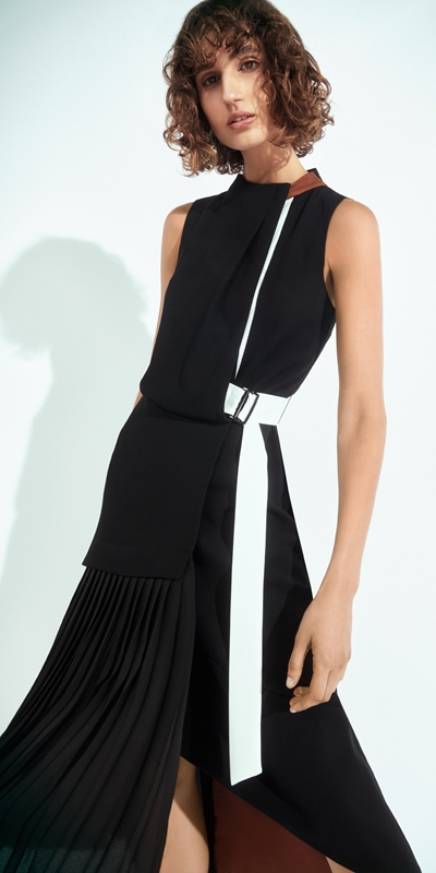 New Arrivals  | Spliced Pleated Midi Dress
