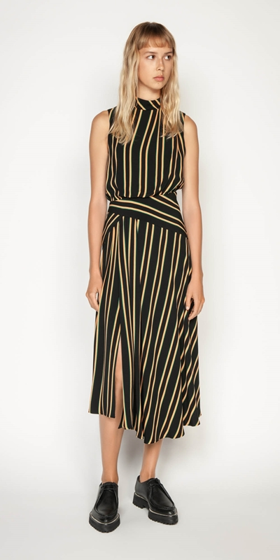 Work From Home | Bold Stripe Asymmetric Midi Dress