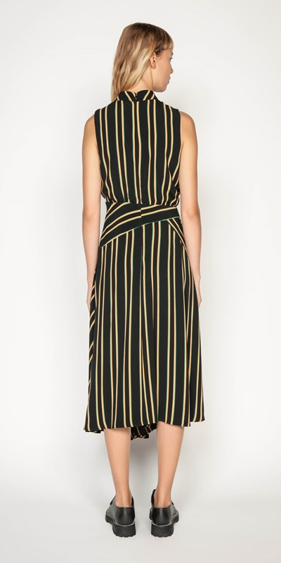 Dresses | Bold Stripe Asymmetric Midi Dress
