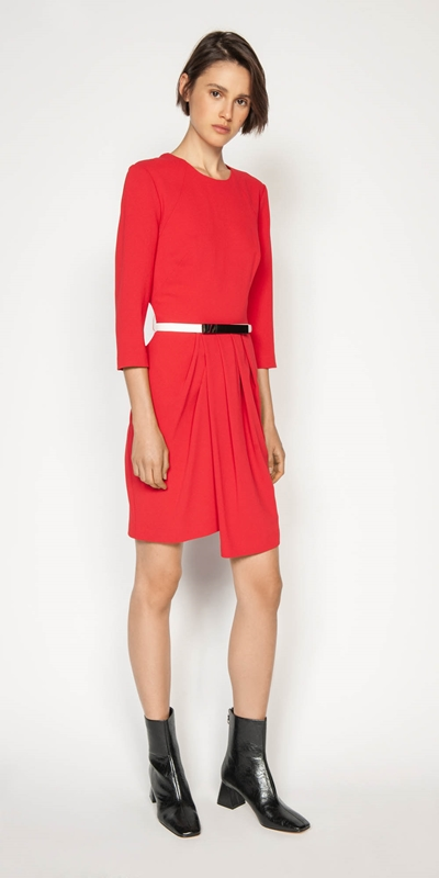 Dresses | Belted Draped Tuck Front Dress