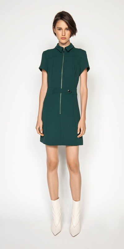 Wear to Work | Crepe Zip Front Dress