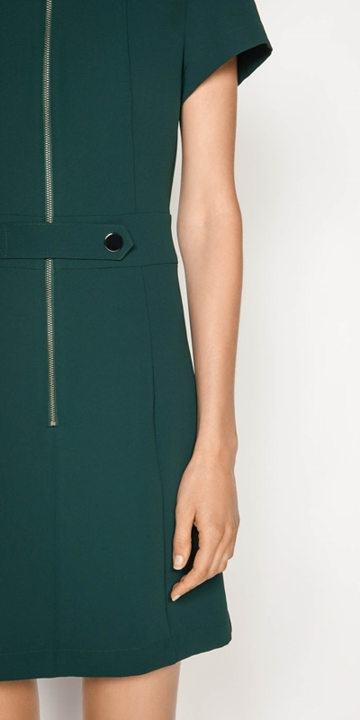 Dresses | Crepe Zip Front Dress
