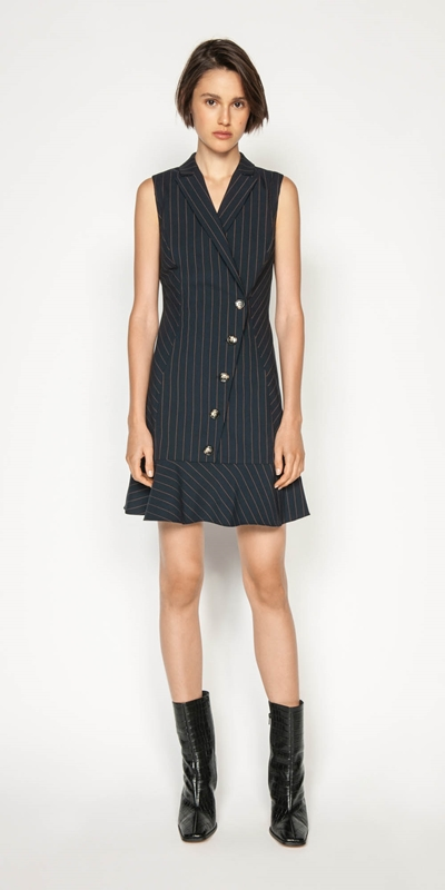 Dresses | Camel Pinstripe Button Front Dress