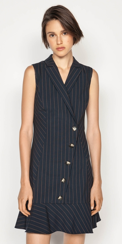 Made in Australia  | Camel Pinstripe Button Front Dress